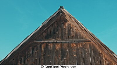 Old wooden house in the sunset on the background of blue sky, winter back