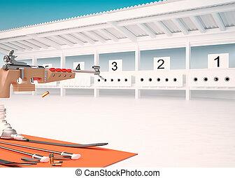 Biathlon. Target sports to rifle shooting. Gunshot.
