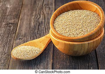de madera,  Quinoa, blanco, tazón
