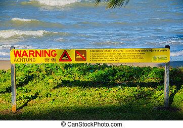 Krokodile! - Warnung vor Krokodilen im tropischen Norden...