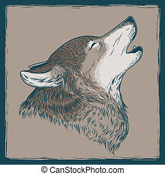 illustration of a howling wolf. Print for T-shirts.