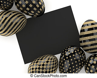 3d rendering of Easter glitter and black eggs with card - 3d...