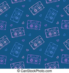 audio cassette seamless pattern