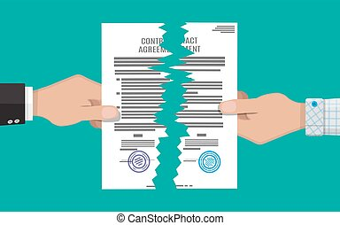 Two hands torn in half contract document