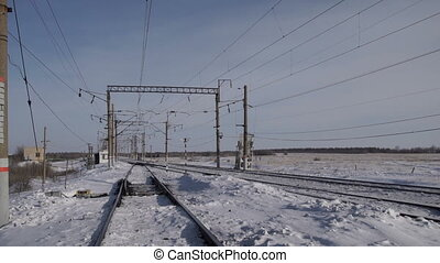Railway in the winter day - Empty railway lines and...
