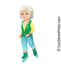 vector illustration of an old active lady with smart watch, who is dressed in a sport wear. She is rollerblading.