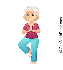 vector illustration of an old active lady, who is dressed in a sport wear. She is doing yoga
