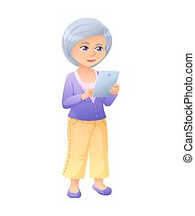 vector illustration of an old active lady, who is dressed in jeans and cardigan. She is standing and surfing the internet on a tablet.
