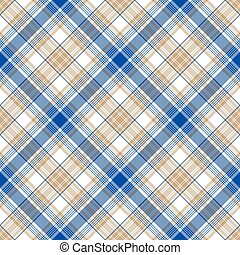 Blue gold tartan seamless pattern
