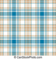 Blue gold white check fabric texture seamless pattern