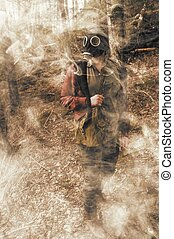 Girl Gas Mask Smoke - Scary girl wearing authentic Russian...