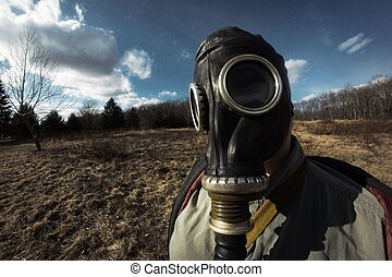 Girl Gas Mask - Scary girl wearing authentic Russian gas...