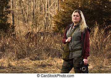 Girl Gas Mask Field - Worried pretty girl carrying authentic...