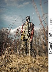 Girl Gas Mask Field - Scary girl wearing authentic Russian...