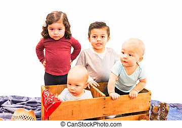 Portrait of Young Cousins - Portrait of Four Hispanic and...