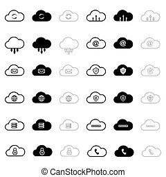 set with internet cloud icons