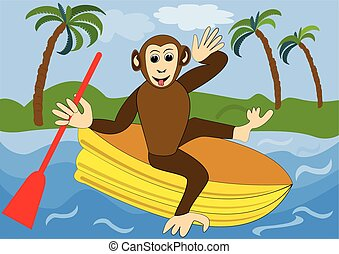Funny monkey floats on yellow inflatable rubber dinghy with...