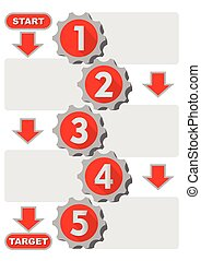 Graphical presentation of the working process in five steps with gear elements, arrows, Start point,Target point, gray and red design, space for own text. Infographic template