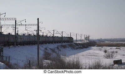 Of freight trains on railroad tracks - Of freight trains on...