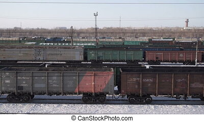 Freight train arrives at the railway station, a static plan....