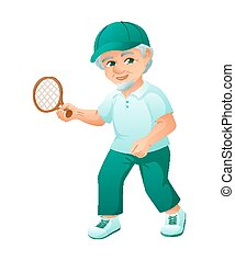 vector illustration of an old active man with beard, who is dressed in a sport dress and sneakers. He is play tennis.