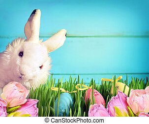 Little Easter bunny on green grass and flowers