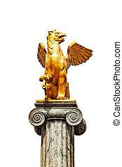 Griffin sculpture on pedestal - Griffin sculpture on...