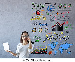 Business communications concept - Happy young businesswoman...