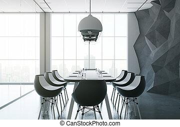 Dark boardroom - Side view of dark boardroom with equipment,...