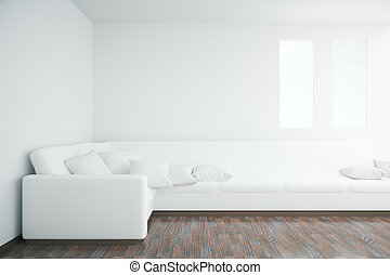 Interior with white sofa - White interior with large sofa,...
