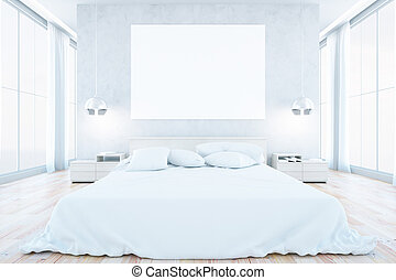 White bedroom interior with furniture, blank whiteboard, no...