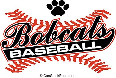 bobcats baseball team design in script with tail for school,...
