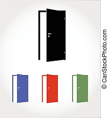 color opened door icon - color blank opened door icon vector...