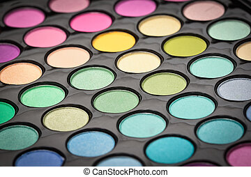 Make-up eye shadows background. Shallow DOF