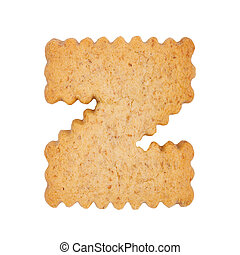 Cookie alphabet symbol - Z isolated on white background. One...