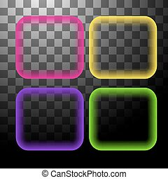 Neon square banner isolated - Square frame shiny background...