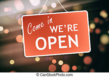 We are open sign on abstract background - We are open sign...
