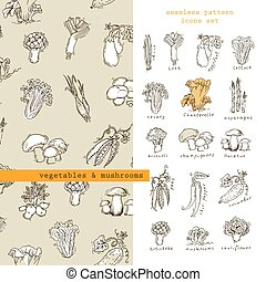 Seamless pattern and icons - vegetables and mushrooms - Hand...