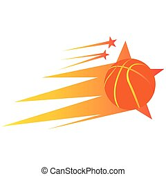Isolated basketball stamp with a ball and stars, Vector...