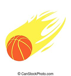 Isolated basketball stamp with a ball on fire, Vector...
