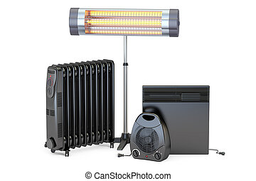 Set of heating devices. Convection, fan, oil-filled and...