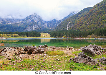 Beautiful Lago di Fusine the mountain lake and Mangart...