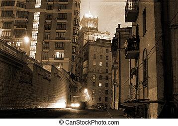 street at 20th century - dark street on the old European...