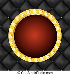 Vector illustration of round retro light frame isolated on dark background.