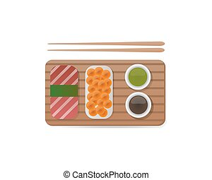 Sushi breakfast food and chopsticks vector illustration. -...