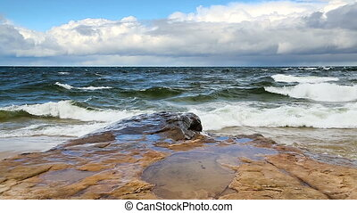 Miners Beach on a Windy Day - Lake Superior waves roll in...