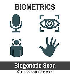 Biometric Scanning Graphic - Biogenetics with Hand, audio,...