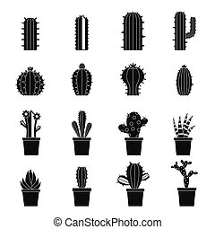 Different cactuses icons set, simple style - Different...