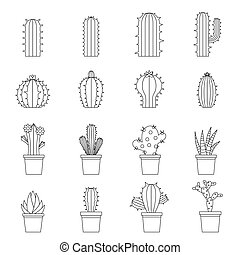 Different cactuses icons set, outline style - Different...