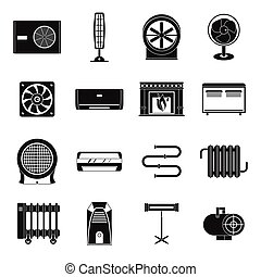 Heating cooling air icons set, simple style - Heating...